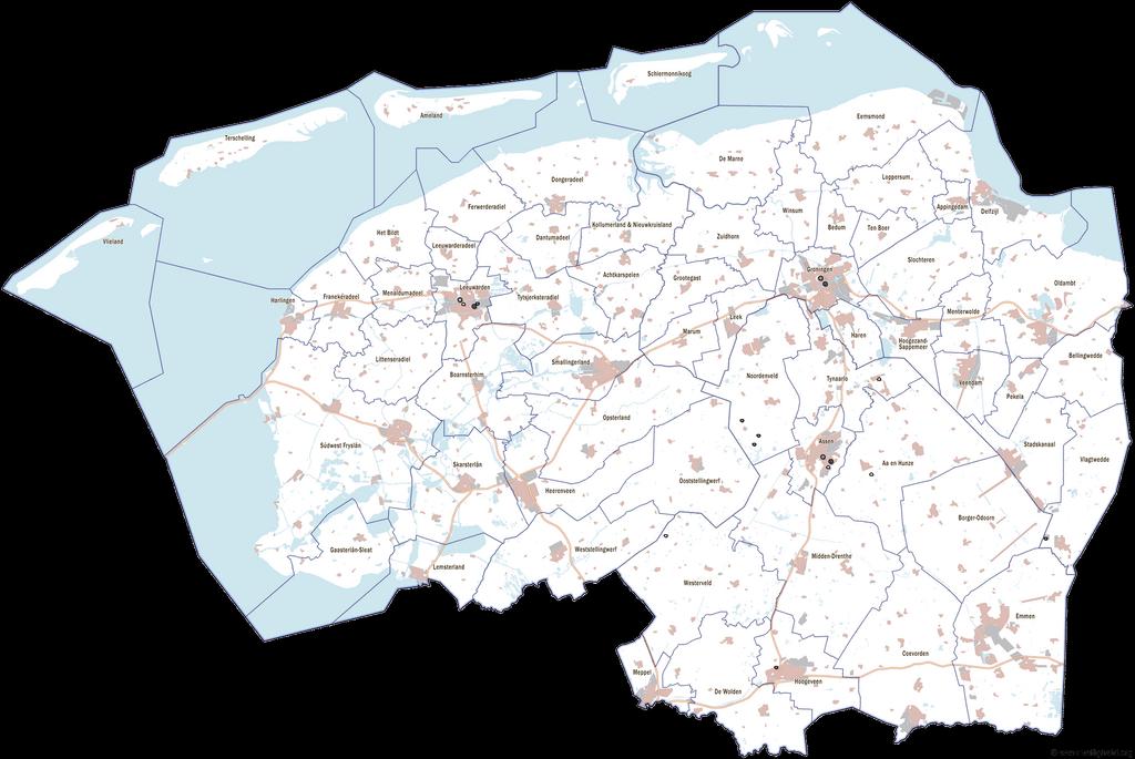 Kaart van Noord-Nederland (Groningen, Fryslân en Drenthe) met de ...: plaatsengids.nl/noord-nederland