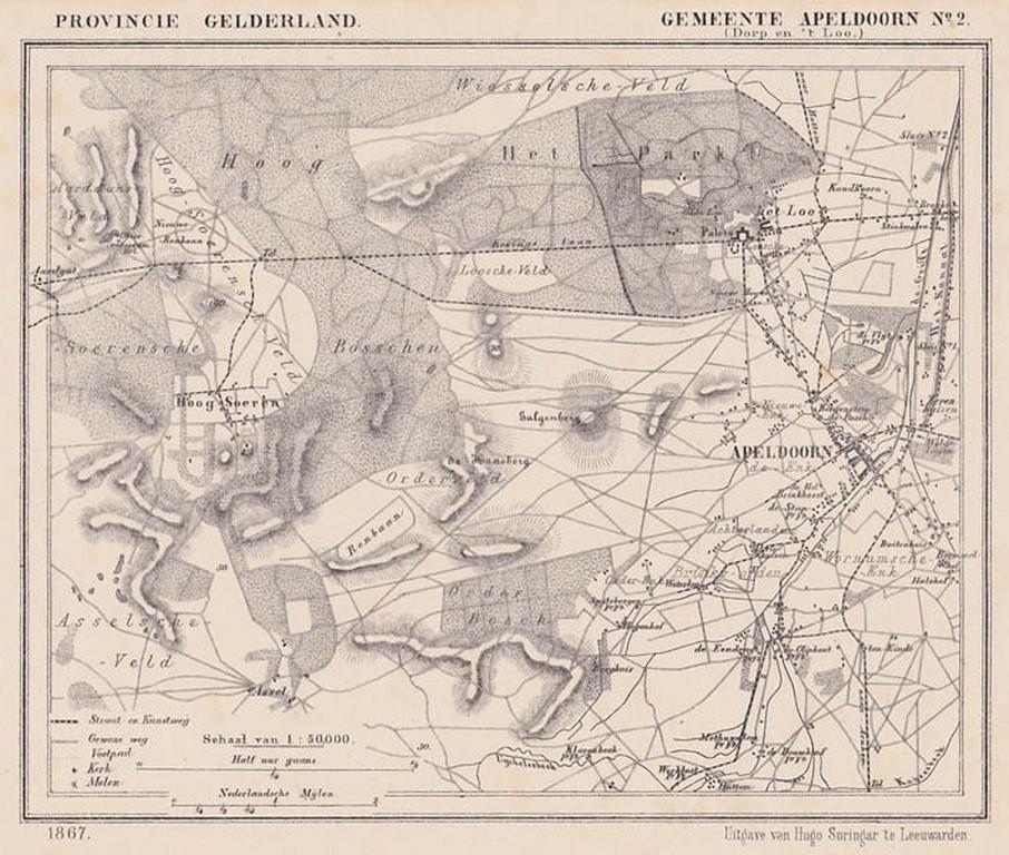 Gemeente Apeldoorn Dorp Apeldoorn En Het Loo Anno Ca 1870 Kaart J