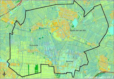 Kaart van de gemeente Alphen aan den Rijn sinds 2014: een fusie van de gemeenten Alphen aan den Rijn, Boskoop en Rijnwoude