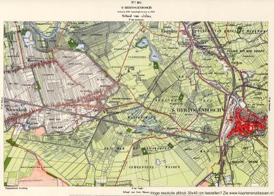 Op deze kaart uit ca. 1900 is Orthen nog duidelijk een los van de stad 's-Hertogenbosch gelegen kern.