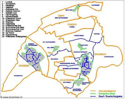 Indeling van de gemeente Brummen in woonplaatsen, wijken en buurten