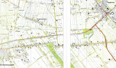 Kaart met de ligging van de buurtschappen en voormalige sluizen Sluis 6 en Sluis 7, O van Dedemsvaart. Tegenwoordig wordt het als een buurtschap Dedemsvaart Sluis 6-7 beschouwd.