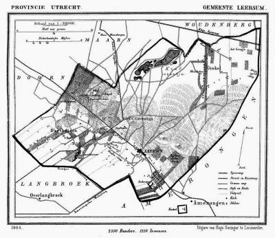 Op deze oude gemeentekaart, uit ca. 1870, is goed te zien dat de buurtschap Ginkel in een NO uithoek van de gemeente Leersum lag