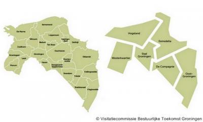 Groningen gemeenten anno 2013 en zoals aanvankelijk beoogd anno 2018. Inmiddels zijn hier al wel wat wijzigingen in opgetreden. Hoe dan ook loopt het aantal gemeenten in Groningen per 2018 flink terug.