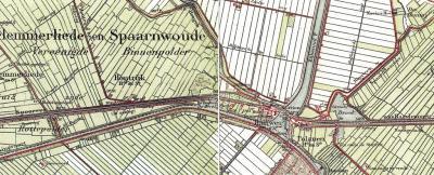 Halfweg, ca. 1900. Opvallend is dat er destijds een postkantoor was genaamd Houtrijk en Polanen, terwijl op de kaart reeds sprake is van drie kerntjes, resp., van W naar O: Houtrijk, Halfweg en Polanen.