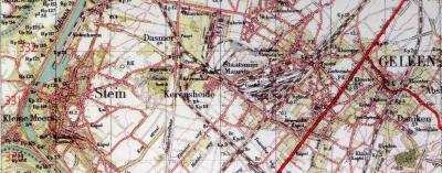 Kerensheide, gem. Beek LB, plattegrond uit 1941. De oorspronkelijke ligging met omgeving, voor e.e.a. door het DSM-complex werd opgeslokt, is hier goed te zien.