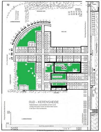 Kerensheide, gem. Beek LB, plattegrond van het mijnwerkersdorpje zoals dat van 1926 tot 1978 heeft bestaan