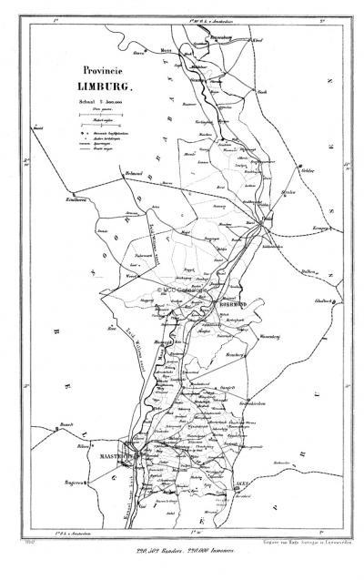 Provincie Limburg in ca. 1870, kaart J. Kuijper