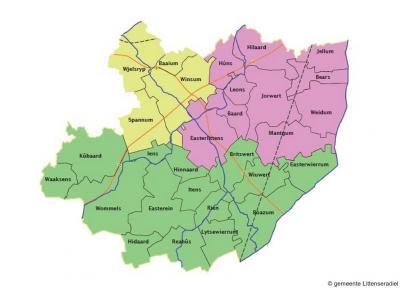 De gemeenteraad van Littenseradiel heeft in 2013 besloten tot herindelingsvariant 1, waarbij de gemeente over drie omliggende gemeenten werd verdeeld, zoals op deze kaart wordt weergegeven. Voor nadere toelichting zie bij Status, 6e alinea.