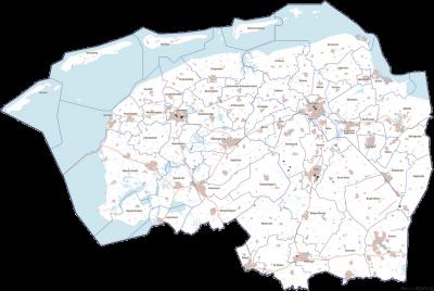 Kaart van Noord-Nederland (Groningen, Fryslân en Drenthe) met de gemeentelijke indeling anno 2013.