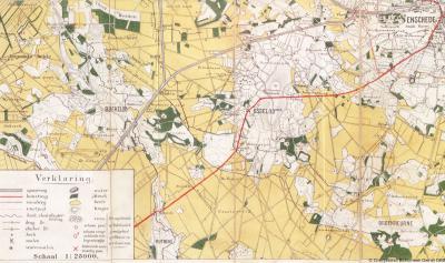 Kaart van Usselo, Boekelo en een deel van Broekheurne, anno ca. 1889
