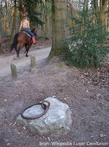 Een van de punten die wordt geprofileerd als Middelpunt van Nederland ligt bij de Puttense buurtschap Krachtighuizen. Een grote steen met een ring erdoor markeert het punt.