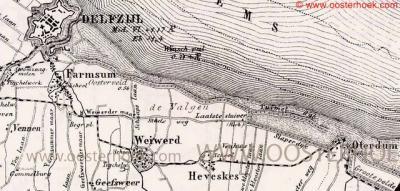 De dorpen Heveskes, Oterdum en Weiwerd vormden samen de streek Oosterhoek. Alle drie de dorpen zijn door de dijkverhogingen en de oprukkende Delfzijlster industrie in / sinds de jaren zeventig van de 20e eeuw vrijwel volledig van de kaart verdwenen.