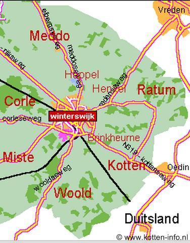 De buurtschappen van Winterswijk liggen mooi verdeeld in een krans om het dorp heen