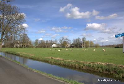 Buurtschap Houtdijk zien we hier in de verte, vanaf de gelijknamige weg