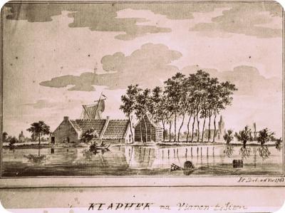 Buurtschap Klaphek in moeilijker tijden na een dijkdoorbraak in 1762. Aan de overkant van de rivier de Lek zien we Vianen met de Lekpoort, de kerk en de molen.