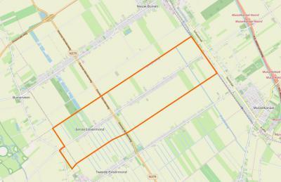 Het grondgebied van het dorp 1e Exloërmond vormt een vrijwel perfecte rechthoek. Daar zijn er vast meer van, maar ook weer niet heel veel, want bij veel lintbebouwingdorpen zitten er toch wel érgens butsen of uitstulpingen in de plattegrond.