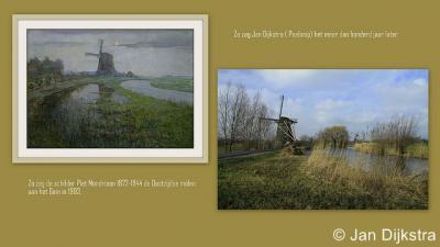 Jan Dijkstra ontdekte dat hij, nadat hij het schilderij van Mondriaan van de Oostzijdse Molen had gezien, puur toevallig deze molen vanuit een zelfde positie had gefotografeerd. Zelfs de stand van de wieken is identiek.