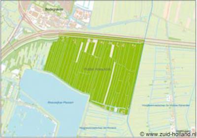 De kaart is wat vaag, maar de groene vlek is Polder Abessinië, gelegen tussen de Reeuwijkse Hout in het W, de A12 en Bodegraven in het N, de Enkele Wiericke in het O en de plas Broekvelden (deel van de Reeuwijkse Plassen) in het Z.