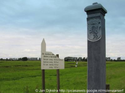 Achterbos, replica van de 'scheydtpaal' die destijds de grens aangaf tussen Holland en het Sticht of Utrecht. Hoe die vork in de steel zat, kun je hieronder lezen.