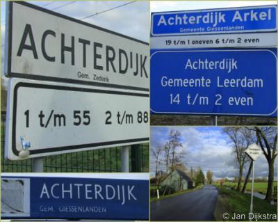 De buurtschap Achterdijk valt onder drie dorpen en (thans) twee gemeenten, dus dat vergt ter plekke nogal wat bordjes om de weg te wijzen voor welk deel je welke kant op moet... (overigens is het plaatsnaambord ergens in de afgelopen jaren ontvreemd).