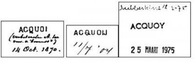 Acquoy heeft eerder in de 19e en 20e eeuw ook nog Acquoi en Acquoij geheten, getuige dit stempelboek van de PTT. Er was ook nog even een spelling Akkooi, maar die is nooit echt doorgebroken. Kennelijk was men toch te zeer gehecht aan de oude spelling.
