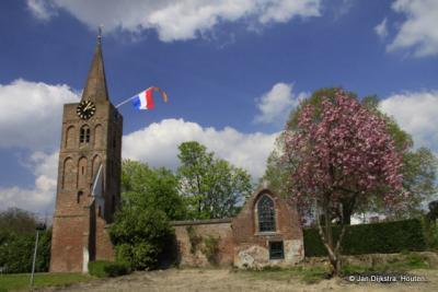 Andel, de voormalige Hervormde kerk met de Romboutstoren, bijzonder is de bakstenen spits