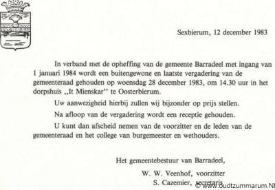 Barradeel, aankondiging laatste gemeenteraadsvergadering op 28-12-1983