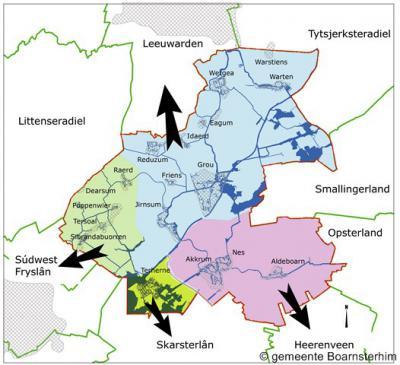 Boarnsterhim, kaartje met de verdeling van de gemeente over vier omliggende gemeenten per 2014