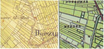 Buurtschap Bokkebuurt bij Doezum, op kaarten uit respectievelijk ca. 1850 en ca. 1900 (© Kadaster)