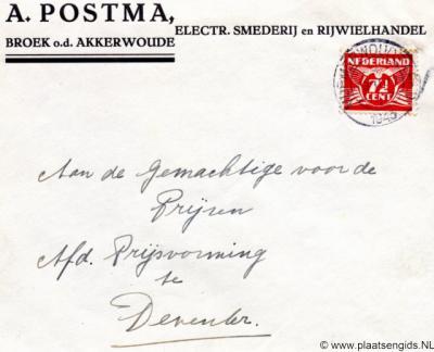 Broeksterwoude heette vanouds gewoon Broek. Maar omdat er daar meer van zijn, zette men er dan bij 'o.d. Akkerwoude' oftewel 'Broek onder het dorp Akkerwoude' (hier op een brief uit 1943). Het heeft daarom ook wel Akkerwoudsterbroek geheten.