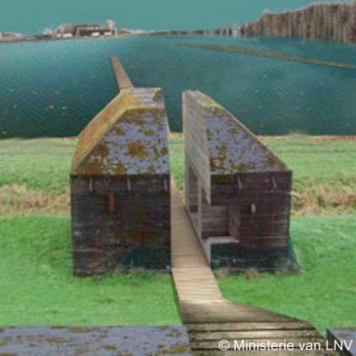 Culemborg, de doorgezaagde bunker aan de Molenkade. Zie verder bij Bezienswaardigheden.