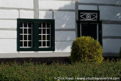 Mechelen, detail vakwerkwoning aan de Mechelderbeek