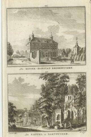 Kapel te Darthuizen en ridderhofstad Broekhuizen, kopergravure uit ca.1750.