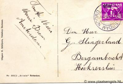 Kaart van tante Mien uit Amsterdam aan G. Slingerland, wonende aan de Hoeksesluis (in buurtschap De Hoek) bij Bergambacht, 1928