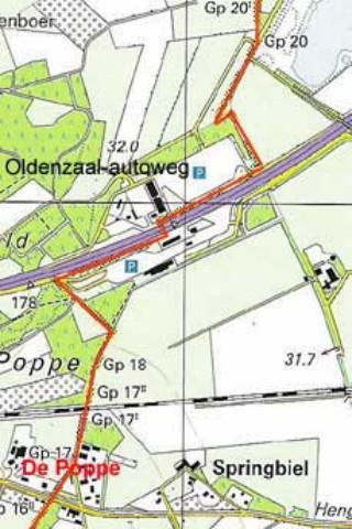 De Poppe, hier is goed te zien dat, sinds een grenscorrectie in de jaren '90, de noordelijke verzorgingsplaats nu geheel onder Nederland valt en de zuidelijke geheel onder Duitsland. Voorheen liep de landsgrens recht(er), van paal 18 naar paal 20.