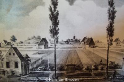 Frederiksoord, schilderij van de gelijknamige kolonie zoals deze begin 19e eeuw is ontstaan