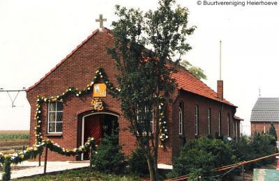 Heierhoeve, de in 2009 afgebroken kapel Onze Lieve Vrouw van Fátima tijdens haar 40-jarig bestaan in 1986
