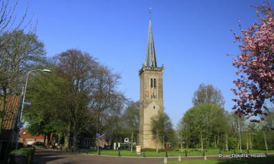 Zicht op de kerktoren van Hem