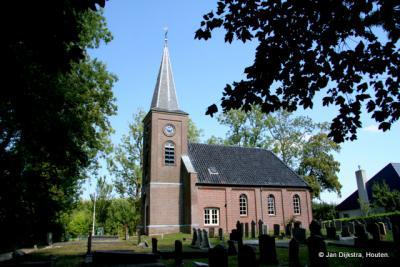 De kerk van Hempens, een dorp in de gemeente Leeuwarden