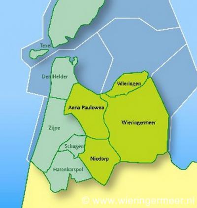 De gemeente Hollands Kroon is in 2012 ontstaan uit samenvoeging van de gemeenten Anna Paulowna, Niedorp, Wieringen en Wieringermeer.