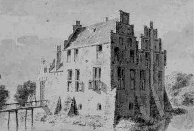 Huppel, voormalige Havezathe 't Waliën, tekening van Cornelis Pronk, jaar onbekend (d.w.z.: ergens tussen 1711 en 1759). Bron: Het Gelders Archief