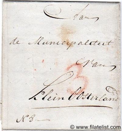 Klein-Oosterland, een polder met een handvol panden tussen Oostvoorne en Brielle, was rond 1800 een aparte 'municipaliteit' oftewel gemeente. Deze brief dateert uit 1802. (© René Hillesum Filatelie / www.filatelist.com)