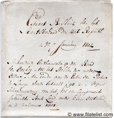 Klein-Oosterland, een polder met een handvol panden tussen Oostvoorne en Brielle, was rond 1800 een aparte gemeente. Brief uit 1802 waarin de regering een inwoner van Klein-Oosterland schadeloos stelt voor het huisvesten van een 'kampement'.