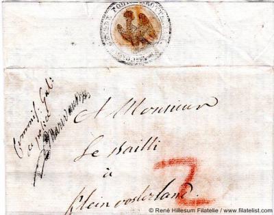 Brief van de Commissaris van Politie van Rotterdam aan de Baljuw van Klein-Oosterland (1811). Gedoeld zal hier zijn op de baljuw als bestuurder van het in genoemd jaar ingestelde Waterschap Polder Klein-Oosterland. (© René Hillesum Filatelie)