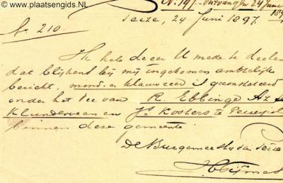 De naam van de buurtschap Klunderveen was in ieder geval in 1897 nog gangbaar, getuige deze melding van MKZ te Klunderveen en Peizerpol van de burgemeester van Peize aan de burgemeester van Roden.