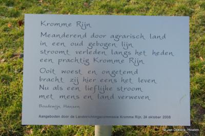 Gedicht op de Kromme Rijn op een paneel in Cothen, een dorp dat prachtig aan deze rivier is gelegen
