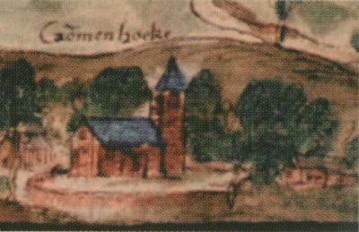 Krommenhoeke, de kerk op een rond en kennelijk ommuurd kerkhof op het Panorama van Walcheren door Anton van Wijngaerde uit ca. 1550