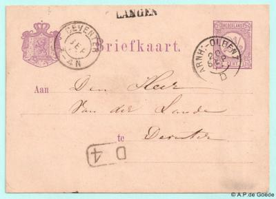 Langen, poststuk met een postaal lijkend stempel van Langen. Dat is het echter niet; Langen heeft geen ´postale inrichting´ gehad. Vermoedelijk was het een maaksel van de lokale tolhuisbeheerder, die ook de brievenbus van Langen beheerde.