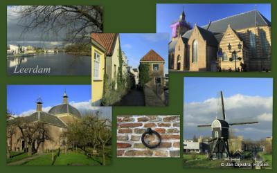 Leerdam, met enkele lokale beroemdheden bijeen op een 'ansichtkaart': de Lingebrug, de Zuidwal, de Hervormde kerk, het Hofje van Mevrouw van Aerden en de Molen van Ter Leede